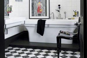 черно белая плитка в ванной фото