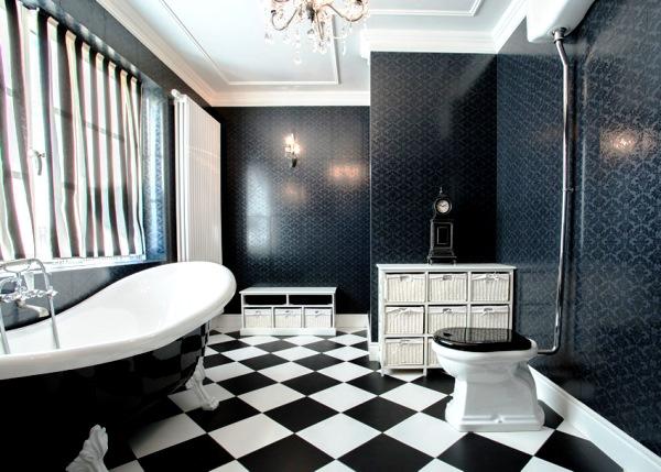 черно белая плитка в ванной комнате фото