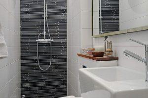 черно белая ванная фото