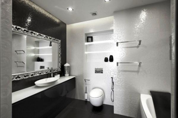 черно белый интерьер ванной комнаты фото 10