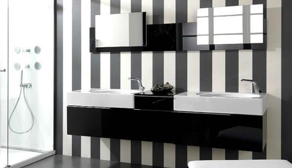 черно белый интерьер ванной комнаты фото 3