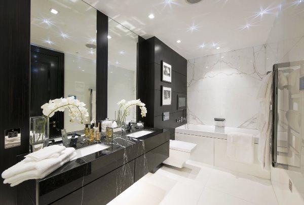 черно белый интерьер ванной комнаты фото 4