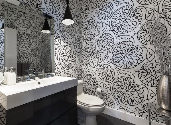 черно белый интерьер ванной комнаты фото 5