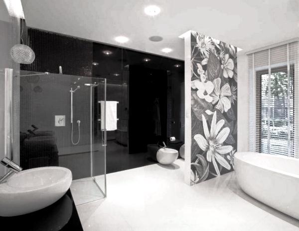 черно белый интерьер ванной комнаты фото 6