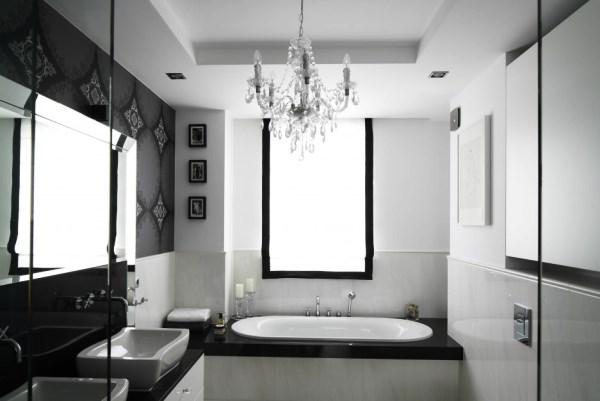 черно белый интерьер ванной комнаты фото 8