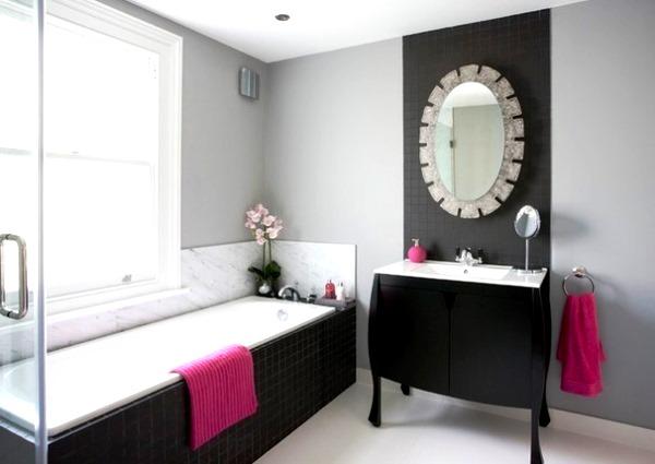 черно белый интерьер ванной комнаты фото
