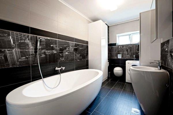 дизайн ванной в черно белом стиле фото