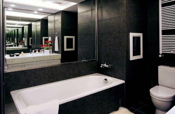 ванная комната в черно белых тонах фото