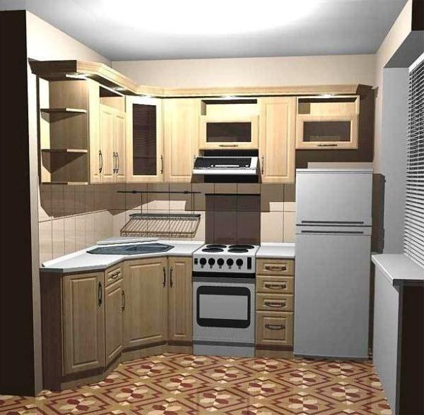 дизайн маленькой кухни 5 кв.м фото с холодильником