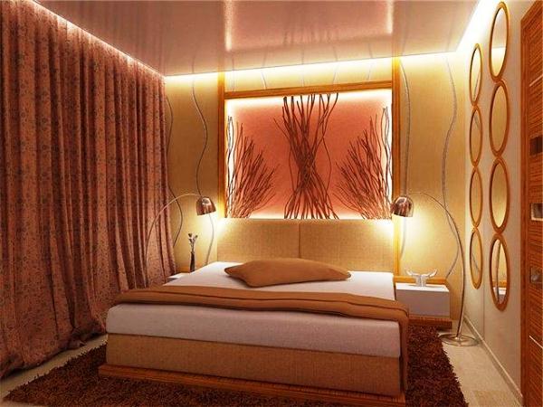 дизайн прямоугольной спальни фото