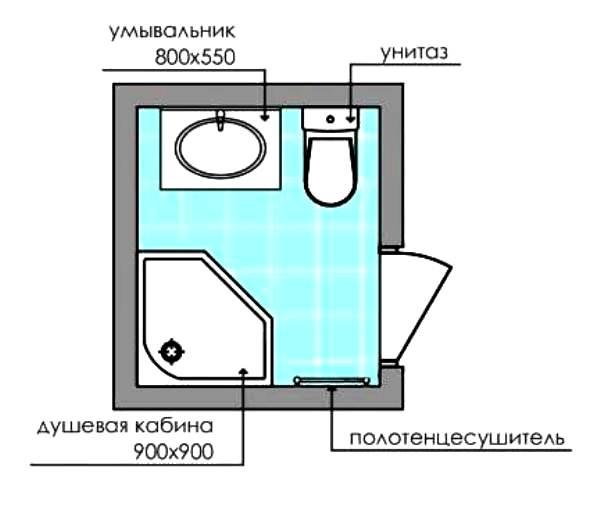 Дизайн совмещенного санузла 3 кв. м: фото, схема № 2