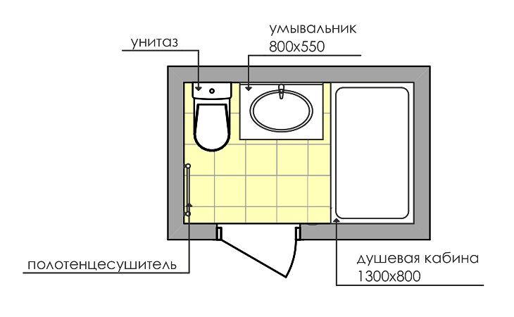 Дизайн совмещенного санузла 3 кв. м: фото, схема № 3