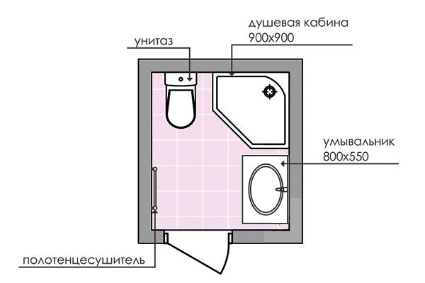 Дизайн совмещенного санузла 3 кв. м: фото, схема № 4