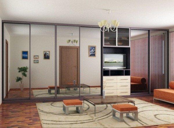 шкафы купе в гостиную с телевизором фото
