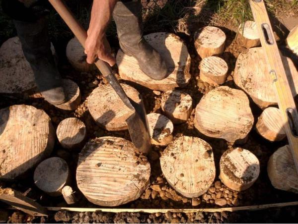 садовые дорожки из поперечных спилов ствола