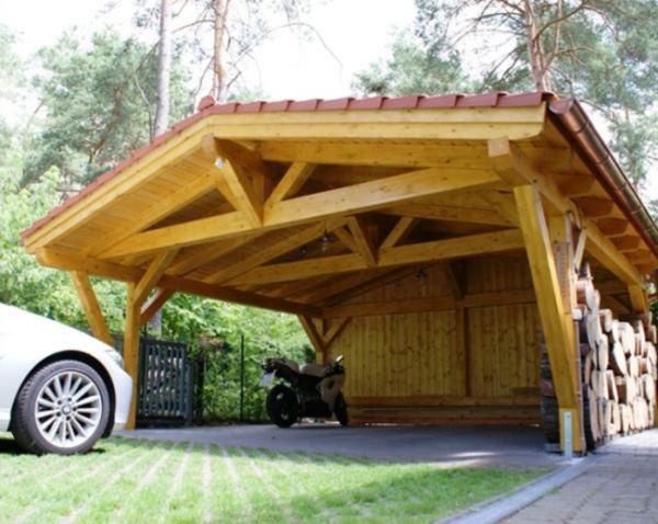 деревянные навесы для автомобилей фото