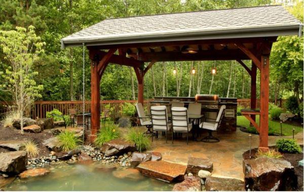 Патио с мангалом на даче фото