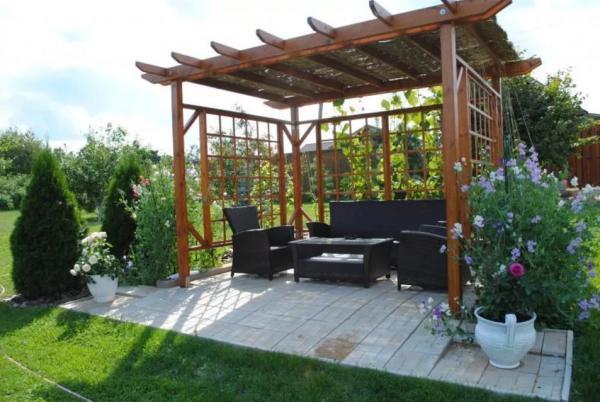 интерьер сада с перголой фото 14