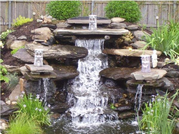 Каскадный водопад своими руками на даче фото