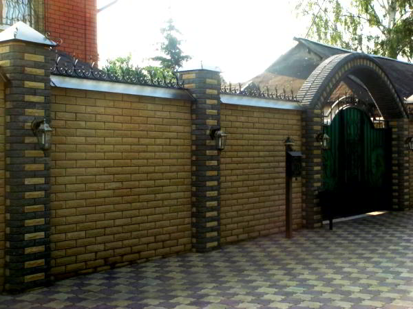 заборы для частного дома из кирпича фото 3